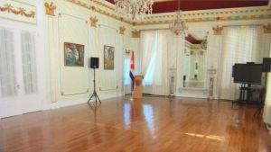 Interior of the Interests Section building, in preparation for festivities celebrating its conversion into an embassy. Photo: Univision