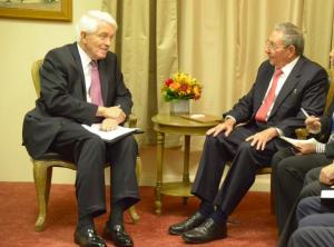 Donohue, Castro at the Cuban UN mission in New York