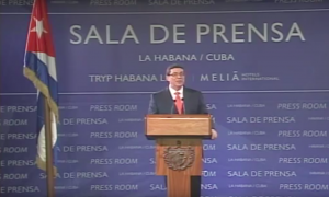 Bruno Rodríguez during a press conference at the Tryp Habana Libre hotel, the media center for President Obama's visit